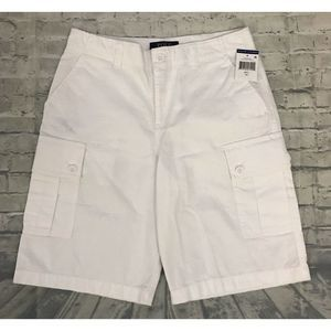 POLO RALPH LAURENBOYS WHITE COTTON CARGO SHORTS